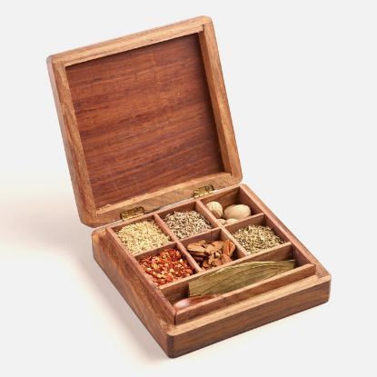 Picture of Carved Wood Latin Spice Gift Box Set