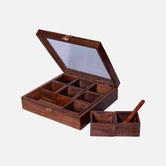 Picture of Classic Wooden Masala Container With Rakhi Gifts