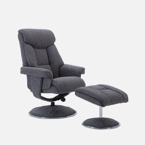 Picture of Swivel Chair And Stool in Lisbon Grey Fabric